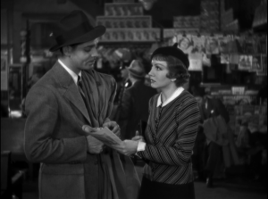Gable and Colbert make an unlikely couple, but the chemistry works. From It Happened One Night
