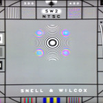 A smartphone photo of the Sony HX-903 showing the in-motion portion of the SW2 test pattern.