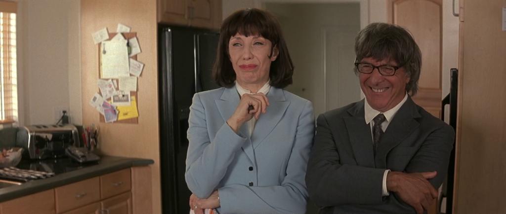 Vivian (Lily Tomlin) and Bernard Jaffe (Dustin Hoffman) make observations in I Love Huckabees