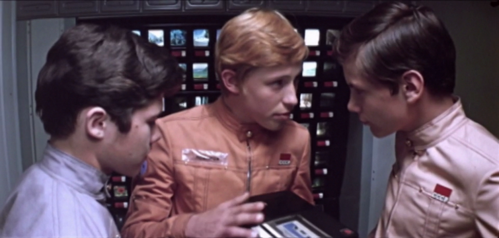The boys discuss a surprise birthday on the holodeck - Teens in the Universe (1975)